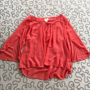 Anthropologie Maeve Coral Flowy Button Sleeve Top
